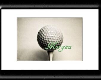 Custom Golf Wall Art-Customized Golf Ball Print-Name On Golf Ball Print-Golf Decor-Sports Wall Decor-Fine Art Print-Girls/Boys Room Wall Art