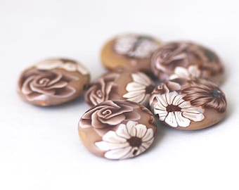Polymer Clay Beads, Latte Brown Lentil Bead Set 6 Pieces