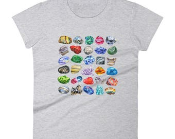 Women's Minerals Gems and Crystals T-Shirt Rock Collecting Tee