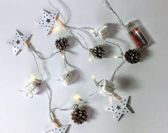 Pine Cone Garland - LED Lighted Christmas Garland - Real Pine cones, White Metal Stars and Wrapped Gifts - 200+ Hours of Battery Life #3491