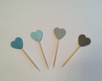 24 teal and grey heart toothpicks, baby shower, birthday, wedding shower, retirement party, appetizer picks, food picks, cupcake toppers