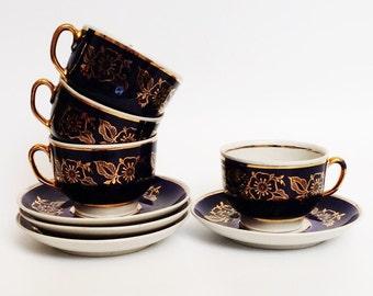 Set of 4 cobalt blue tea cups saucers gold flower 1960s demitasse cup mug jug tea coffee espresso mocha lomonosov navy