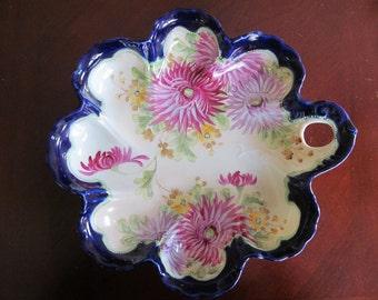 """LG. 11"""" Moriage Pre-1891 Centerpiece Console Bowl Porcelain Chrysanthemum"""