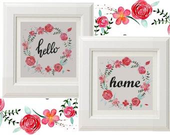 Hello Cross Stitch Pattern PDF, floral wreath Cross Stitch, floral wreath Embroidery, Modern Cross Stitch, Room Wall Decor, flower stitch