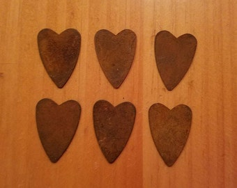 1 inch Rusty Tin Hearts, Package of 6, Tin Hearts, Rusty Tin Heart, Primitive Craft Supplies, Wedding Supplies, Metal Hearts, Rusty Hearts