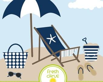 Beach Clip Art Beach Chair Beach Umbrella Summer Clip Art Cloud Sand Tote Bag Flip Flops Beach Pail