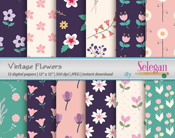 Vintage Flowers, Digital Paper, Scrapbooking, Paper, 12x12, Printable, Flower, Pattern, Blossom,Texture, Garden,Floral, Background, Download