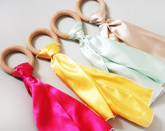 Satin Streamer with All Natural Wooden Teething Ring Baby Toy - You pick Color