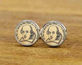 quote cuff links, personalized gifts, shakespeare cufflinks, to be or not to be, that is a question, custom round, square cufflinks, tie bar