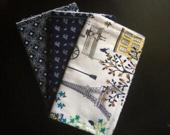 Modern Navy Baby girl Burp cloths set Burp rags set Navy Baby girl Gifts Burp clothes for girl Baby shower gifts