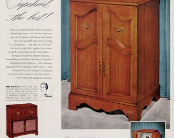 1951 Capehart New Englander Television Cabinet Ad - Retro Wood TV Cabinet - Capehart Symphonic Tone System - 1950s Furniture Advertisement