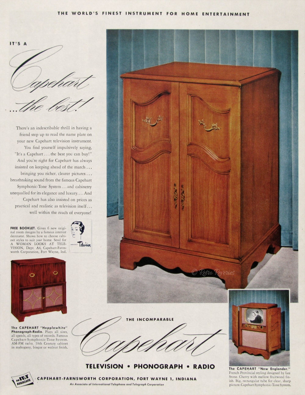 1951 Capehart New Englander Television Cabinet Ad Retro Wood # Meuble Tv D'Angle Salvador