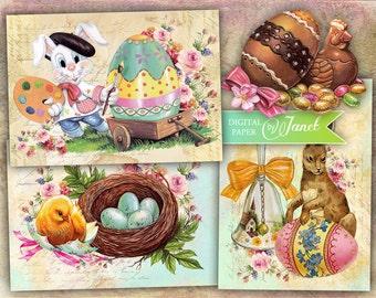 Happy Easter - digital collage sheet - set of 6 - Printable Download