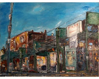 Chicago City Street in the 1970s - ORIGINAL PAINTING - 18 X 24