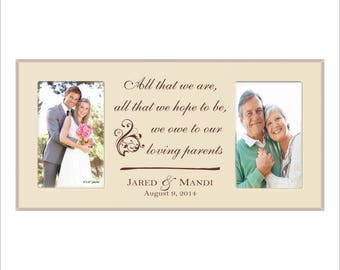 Parents Wedding Frame, Personalized Double Frame, Holds two 4 x 6 Photos, Picture Frame, Laser Engraved, Parents Frame