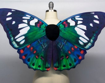 Gaudy Butterfly Halloween Costume Wings, Red Blue and Green, Girls Fairy Costume