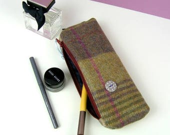 Unique woollen waterproof lined case, pencil case, cosmetic case, British wool, Unique case, Handmade case with waterproof lining