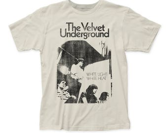 Velvet Underground White Light/White Heat Distressed Men's Soft Fitted 30/1 Cotton Tee (VU51) Vintage White