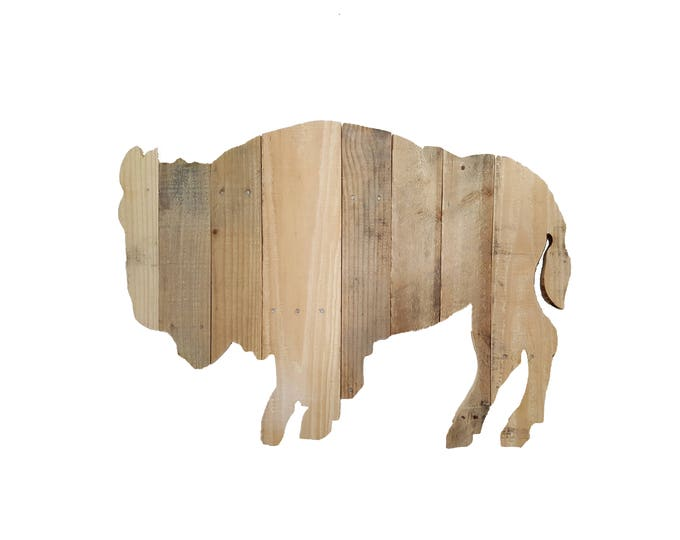 Buffalo Bison, Bison Sign, Reclaimed Wood