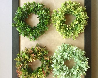 Tiny Boxwood Wreath, Candle Ring Wreath, Artificial Boxwood Wreath, Boxwood Decor