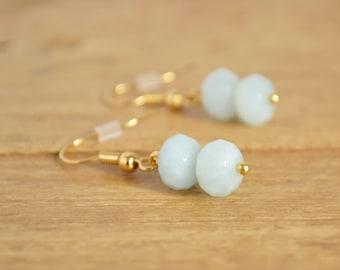 Amazonite Earrings - Aqua Blue Earrings - Blue Gold Earrings - Pastel Blue Jewellery - Gemstone Drop Earrings - Earrings For Sensitive Ears