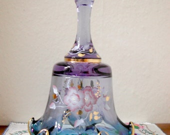 Fenton Glass, Mulberry Bell, Signed P. Miller