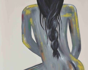Girl naked from behind art custom acrylic painting