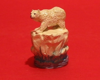 Polar Bear Thimble Hand Painted Pewter Collectible Thimble