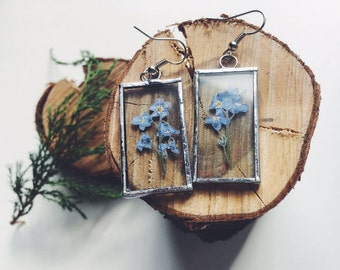 Forget-me-not earrings - Blue botanical earrings - Bridesmaid gift - Something blue for wedding - Real blue forget-me-not flowers jewelry