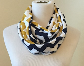 Navy and gold  scarf- available in infinity and regular!