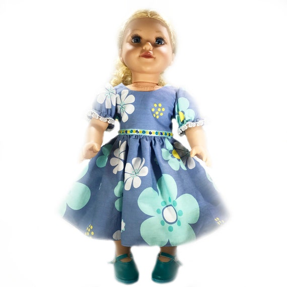 "Blue Floral Party Dress with Sequin Detail for American Girl and Other 18"" Dolls"