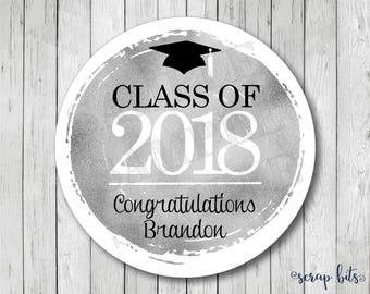 Personalized Faux Silver Foil Graduation Stickers, Class of 2018 Stickers, Graduation Tags, Graduation Labels
