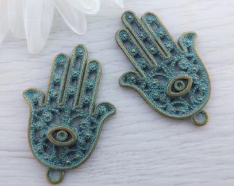 Hamsa Hand Pendant, 5pcs, Mala Pendant, Hamsa Hand Charm, Spiritual Jewelry Supply, Yoga Pendant, CH103