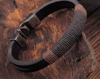 Vintage Hemp Wrap Leather Wristband Bracelet Cuff Black Brown