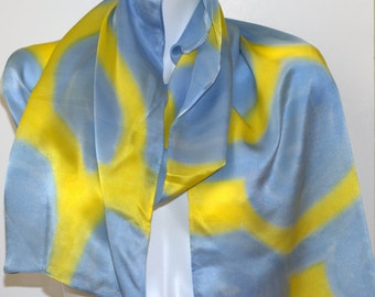Satin silk blue and yellow scarf, 14x72in