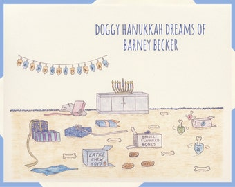 Hanukkah Cards, Personalized Holiday Cards, Dog Cards, Jewish Card, Dog Note Cards, Dog Holiday Cards, Jewish Holiday, Funny Hanukkah Card