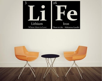 Teacher gift periodic table of elements teacher periodic table of elements life vinyl wall decal with gandhi quote urtaz Images