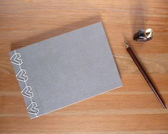 A5 sketchbook, scrapbook, notebook, hand bound, heart stitching, Japanese stab binding