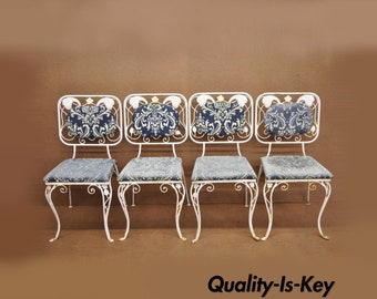 Vintage French Art Nouveau Wrought Iron Floral Dining Chairs Set of 4