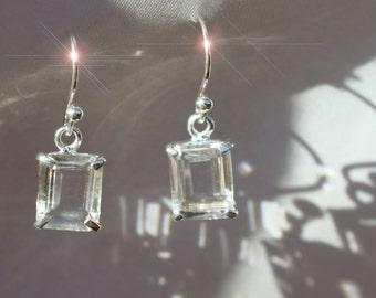 Ice - White Topaz Drop Sterling Silver Earrings