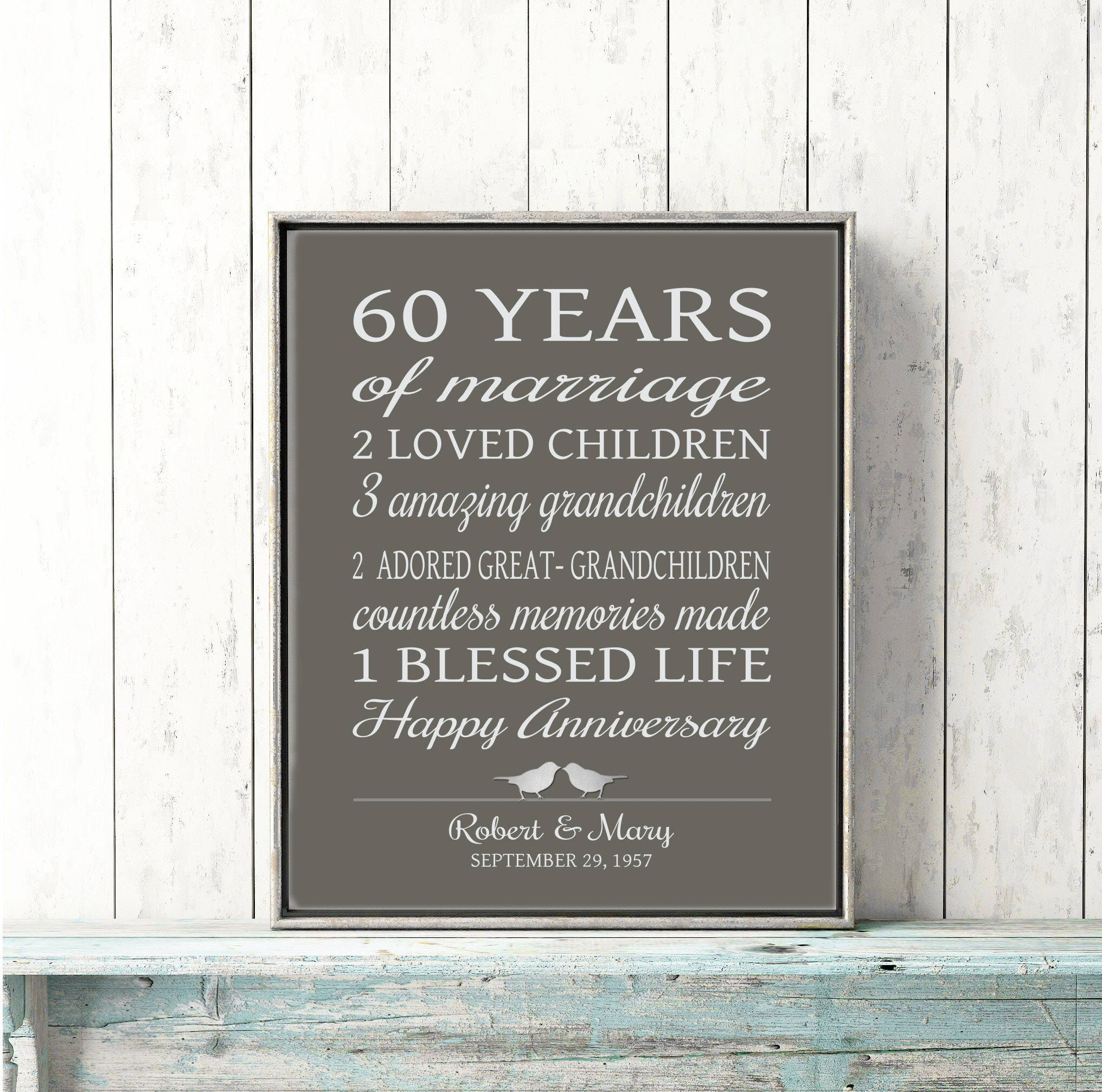 Diamond Wedding Anniversary Gifts For Grandparents: 60th Anniversary Gift For Parents 60 Years Married Sign