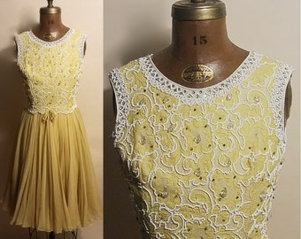 Vintage 1960's Dripping Jewels 60's Beaded Yellow Chiffon Satin Full Skirt Fitted Womens Dress - S