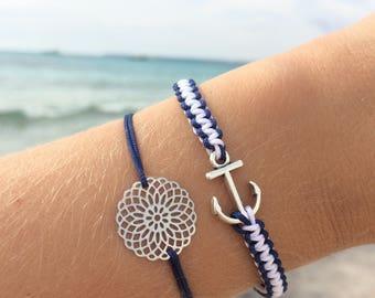 Macramee bracelet anchor Silver/blue/White