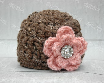 Newborn baby girl hat baby girl photo prop flower beanie barley and pink chunky soft infant girl photography prop crochet knit baby hat