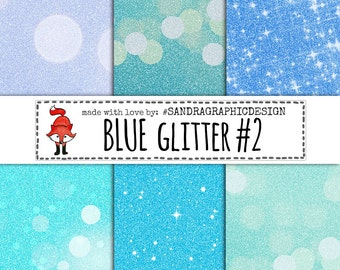"50% OFF Glitter digital paper ""BLUE GLITTER"" with colorful glitter backgrounds, glitter textures in blue colors, with bokeh effect  (1027)"