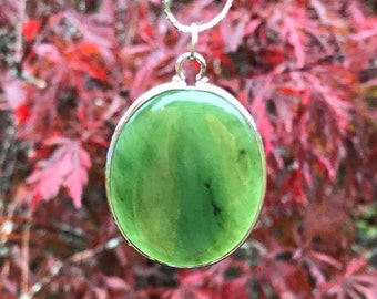 Vintage Sterling Jadeite Like Quartz Oval Pendant Vintage Jade Pendant Necklace