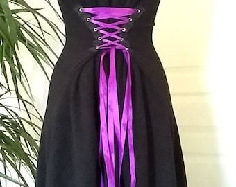 Adjustable black violet, purple laced stitching fleece dress / color can be varied depending on available