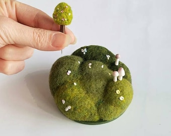 Playscape for Grown-ups, Floral Hills, Movable Mini Tree, Miniature Mushrooms, Miniature Landscape, Pin Cushion Desktop Nature MADE TO ORDER