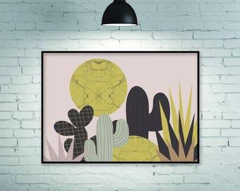 Botanical print, horizontal wall art, large wall art, botanical wall art, mid century modern art, mid century print, large print, wall art