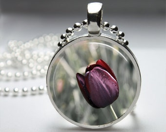 Purple Tulip Nature Round Pendant Necklace with Silver Ball or Snake Chain Necklace or Key Ring